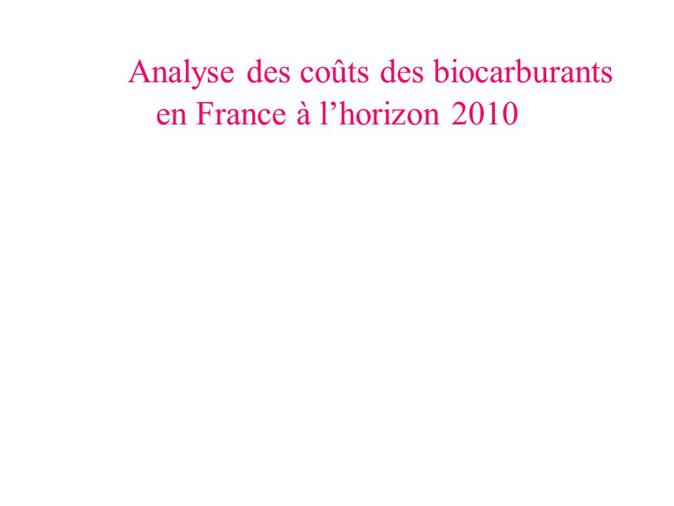 Analyse des coûts des biocarburants en France à l'horizon 2010