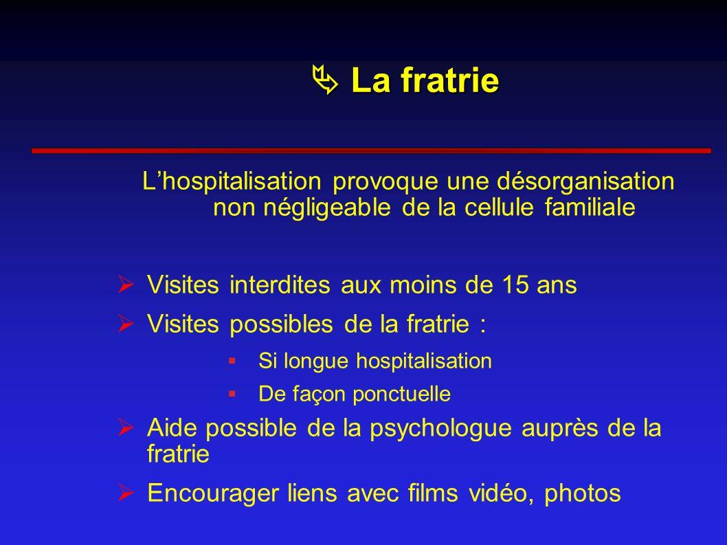  La fratrie L'hospitalisation provoque une désorganisation non négligeable de la cellule familiale.