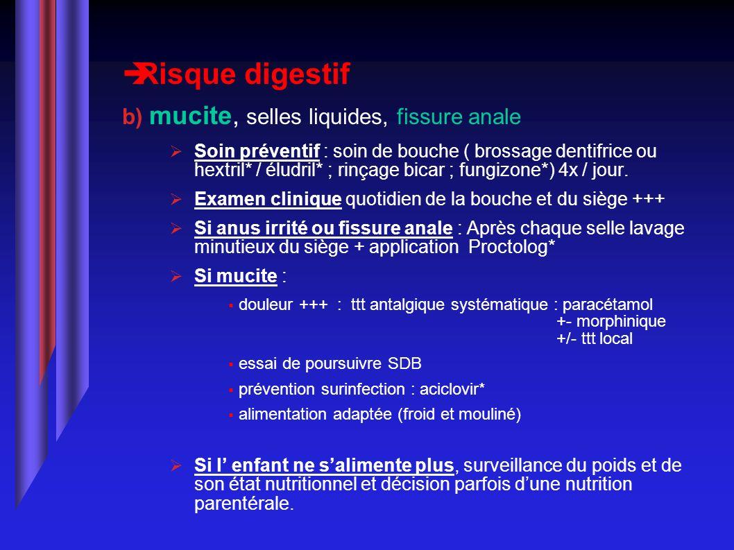Risque digestif b) mucite, selles liquides, fissure anale