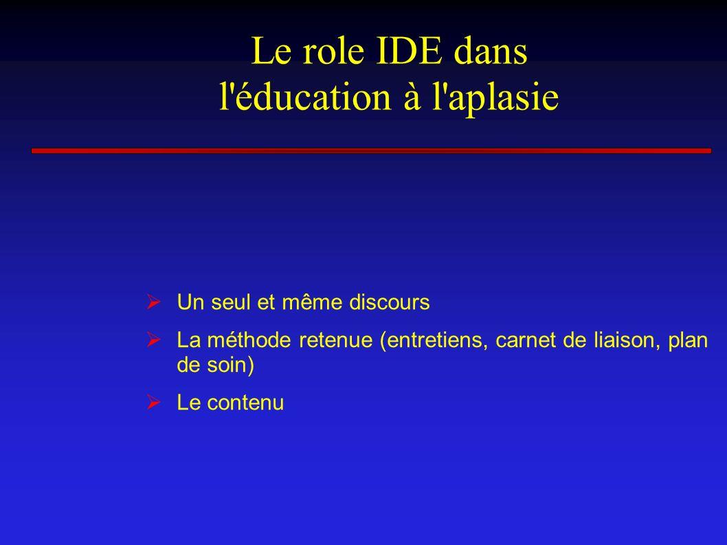 Le role IDE dans l éducation à l aplasie
