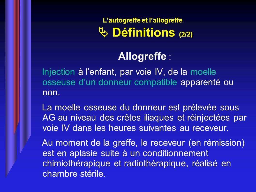 L'autogreffe et l'allogreffe  Définitions (2/2)