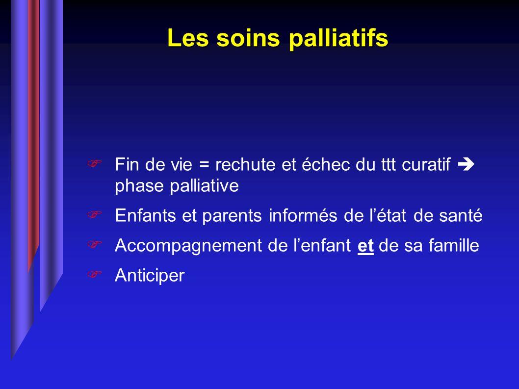 Les soins palliatifs Fin de vie = rechute et échec du ttt curatif  phase palliative. Enfants et parents informés de l'état de santé.