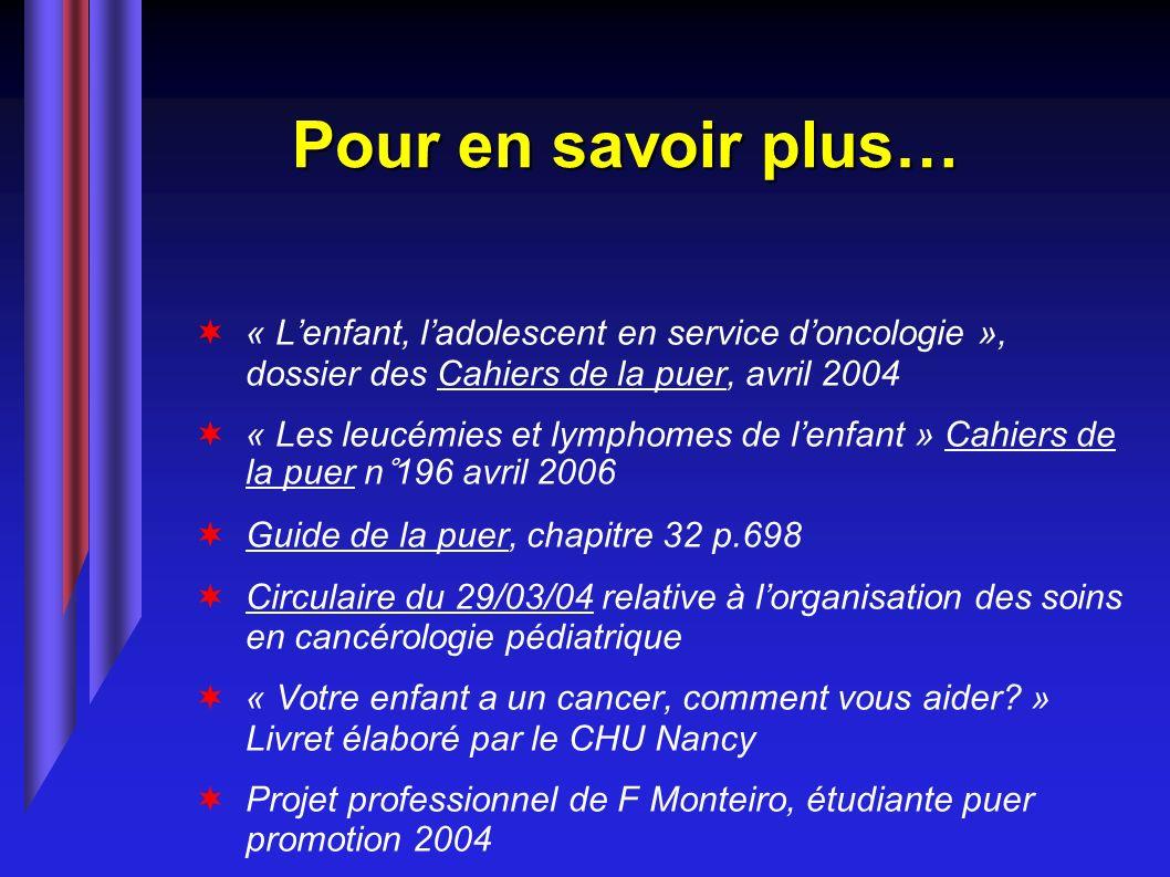 Pour en savoir plus… « L'enfant, l'adolescent en service d'oncologie », dossier des Cahiers de la puer, avril 2004.