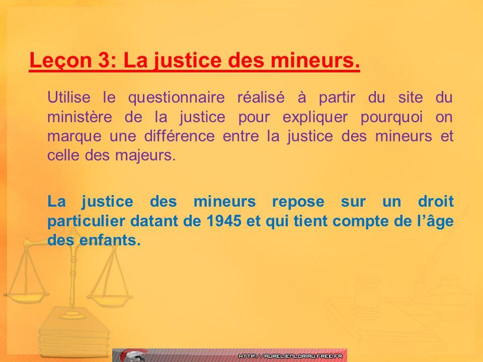 Leçon 3: La justice des mineurs.