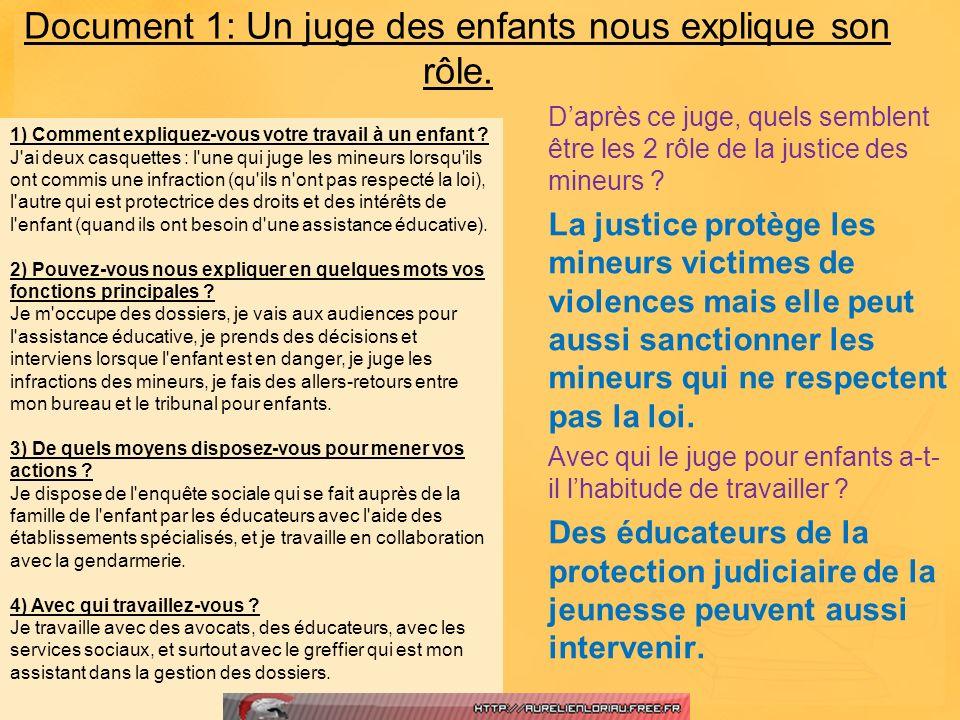Document 1: Un juge des enfants nous explique son rôle.