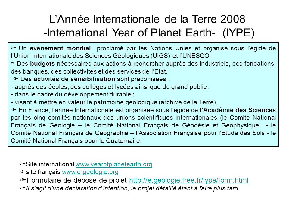L'Année Internationale de la Terre 2008