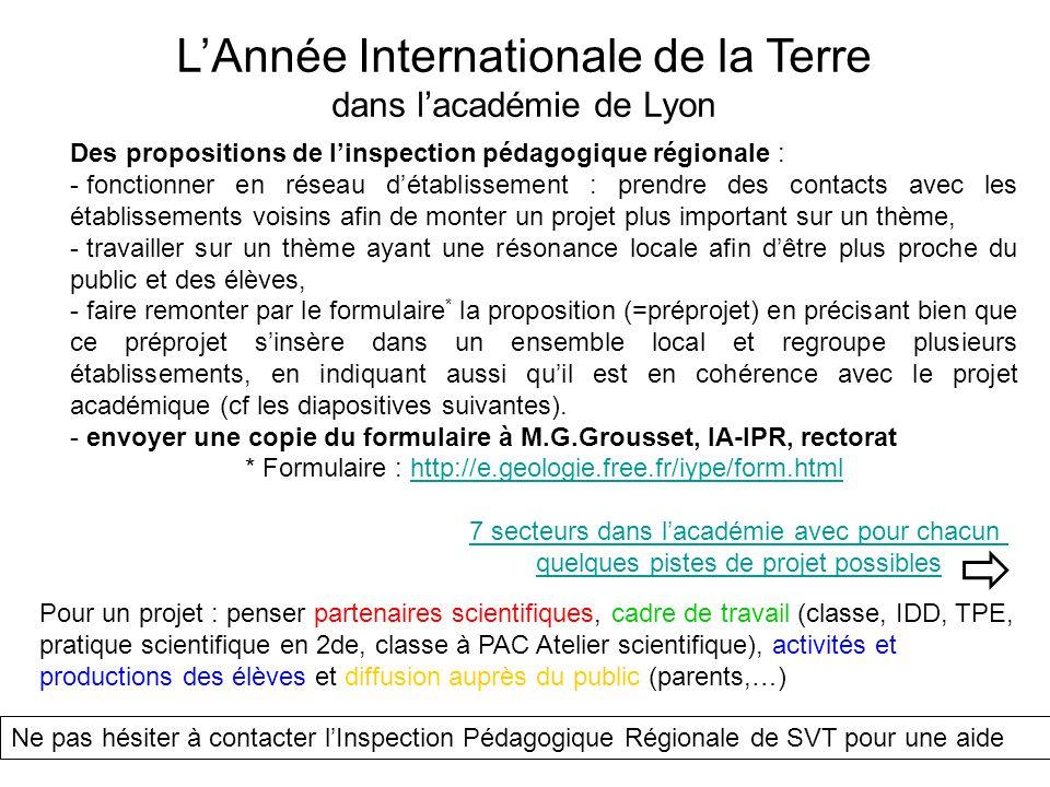  L'Année Internationale de la Terre dans l'académie de Lyon