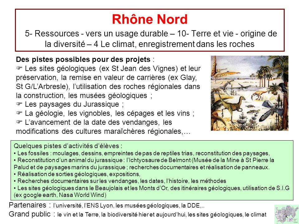 Rhône Nord 5- Ressources - vers un usage durable – 10- Terre et vie - origine de la diversité – 4 Le climat, enregistrement dans les roches