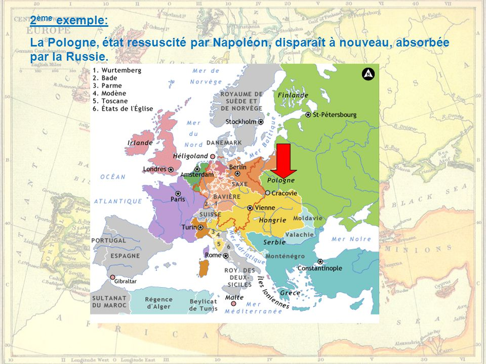 2ème exemple: La Pologne, état ressuscité par Napoléon, disparaît à nouveau, absorbée par la Russie.