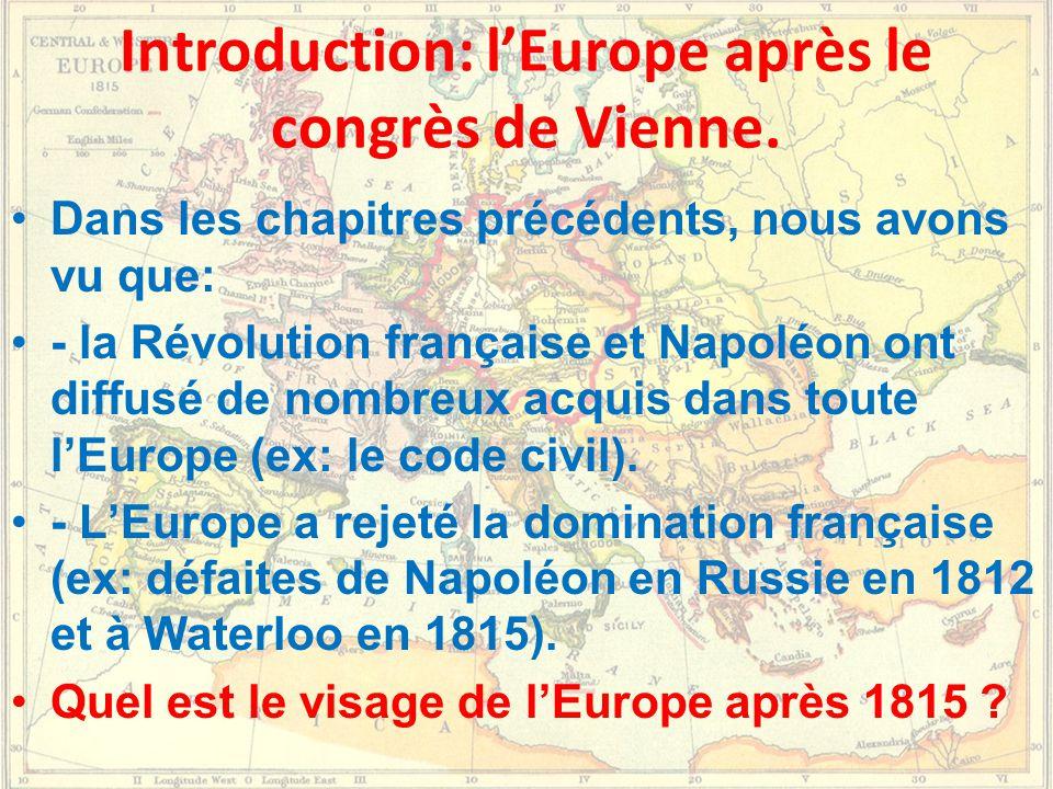 Introduction: l'Europe après le congrès de Vienne.