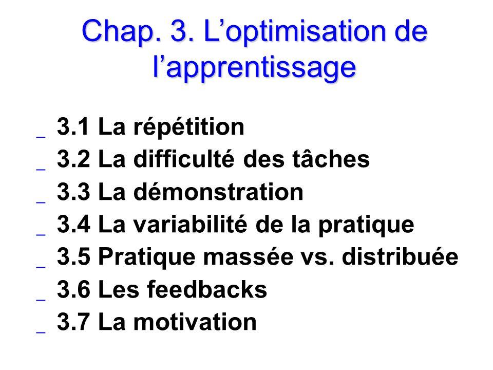 Chap. 3. L'optimisation de l'apprentissage