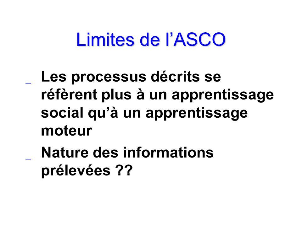 Limites de l'ASCO Les processus décrits se réfèrent plus à un apprentissage social qu'à un apprentissage moteur.