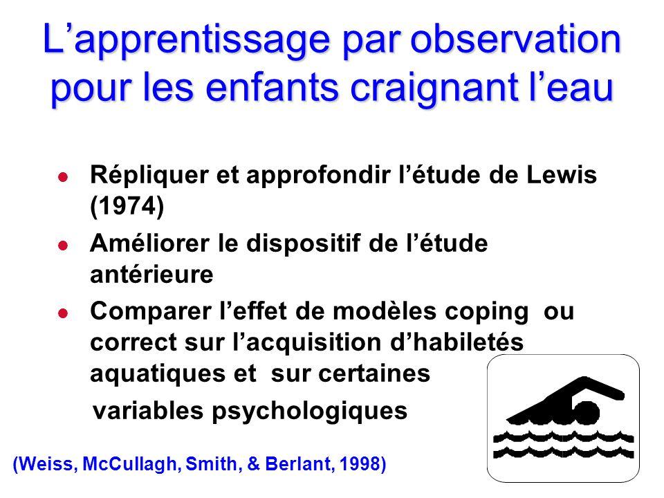 L'apprentissage par observation pour les enfants craignant l'eau