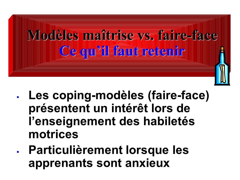 Modèles maîtrise vs. faire-face