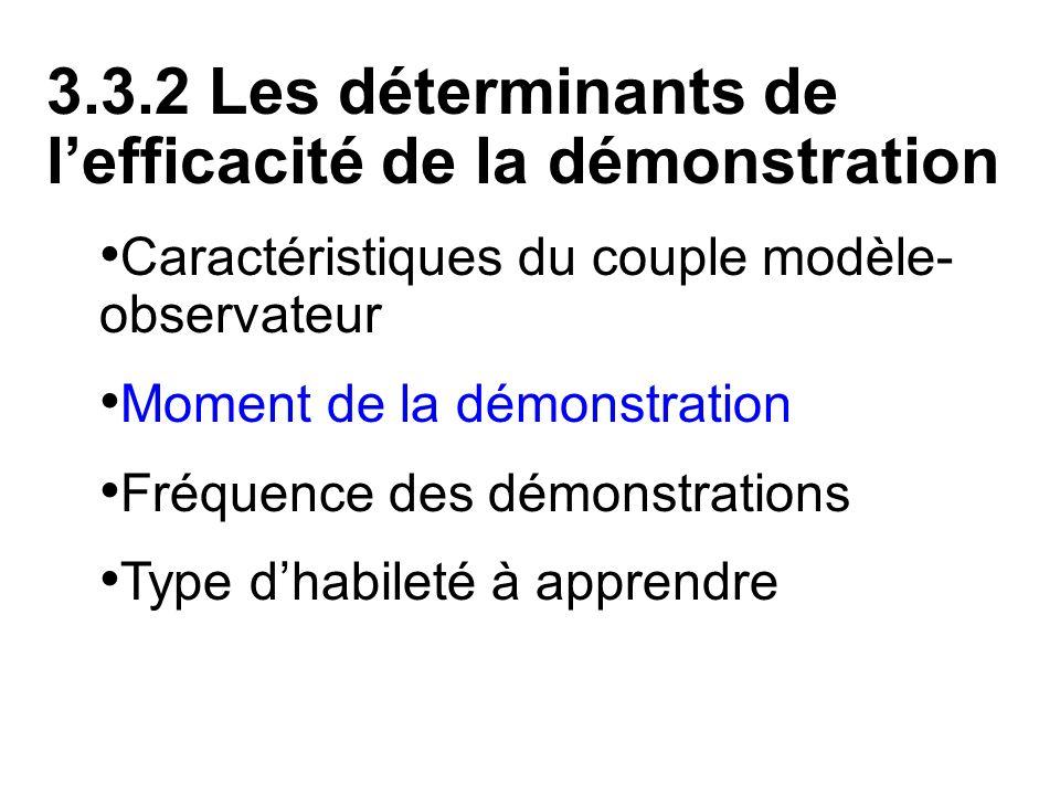 3.3.2 Les déterminants de l'efficacité de la démonstration