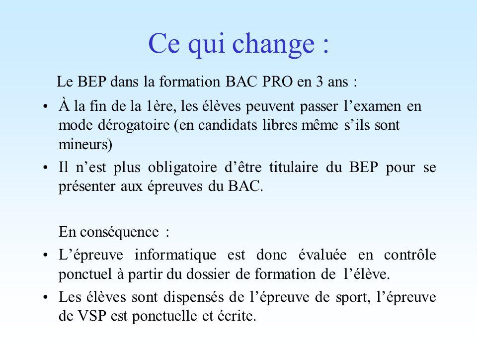 Ce qui change : Le BEP dans la formation BAC PRO en 3 ans :