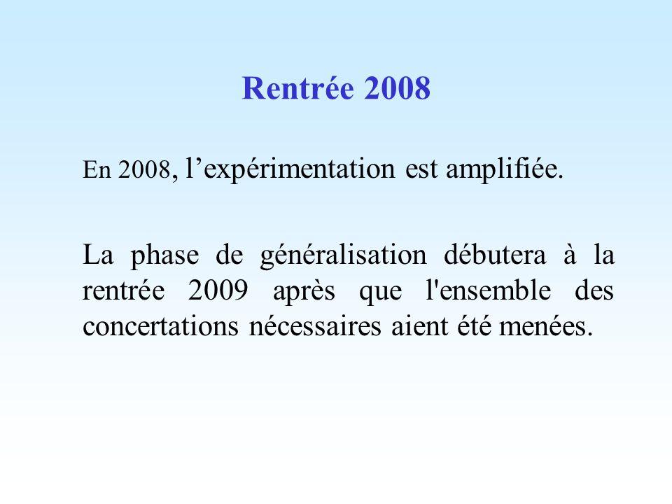 Rentrée 2008 En 2008, l'expérimentation est amplifiée.