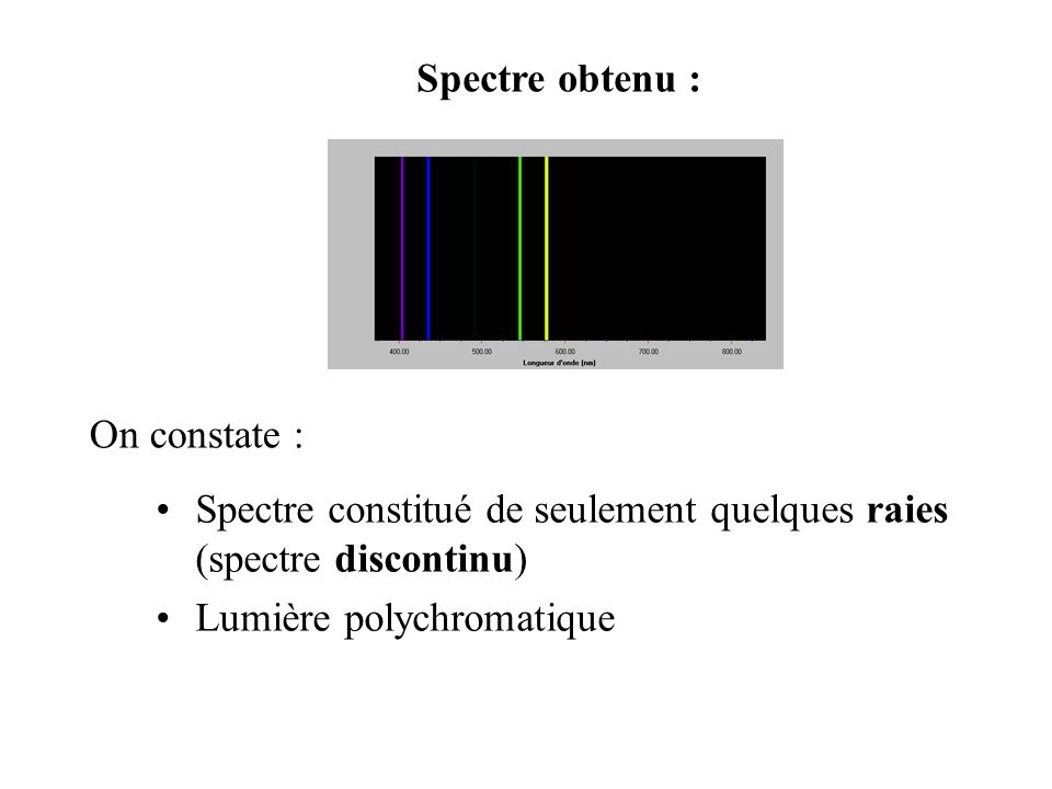 Spectre obtenu : On constate : Spectre constitué de seulement quelques raies (spectre discontinu) Lumière polychromatique.