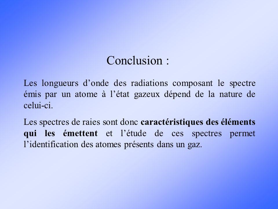 Conclusion : Les longueurs d'onde des radiations composant le spectre émis par un atome à l'état gazeux dépend de la nature de celui-ci.