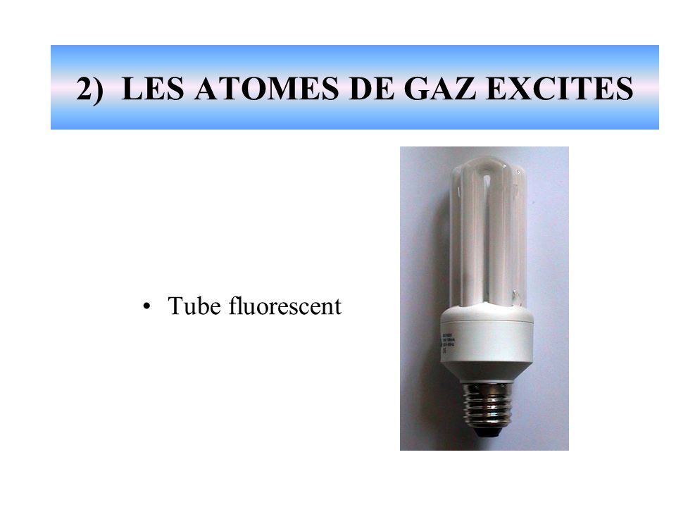 2) LES ATOMES DE GAZ EXCITES