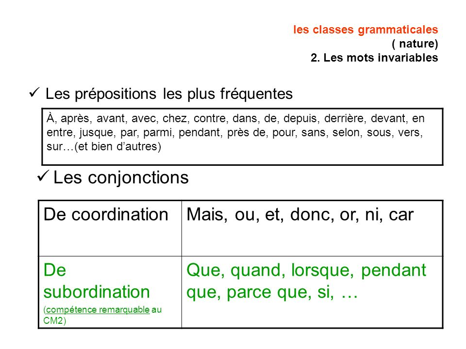 les classes grammaticales ( nature) 2. Les mots invariables