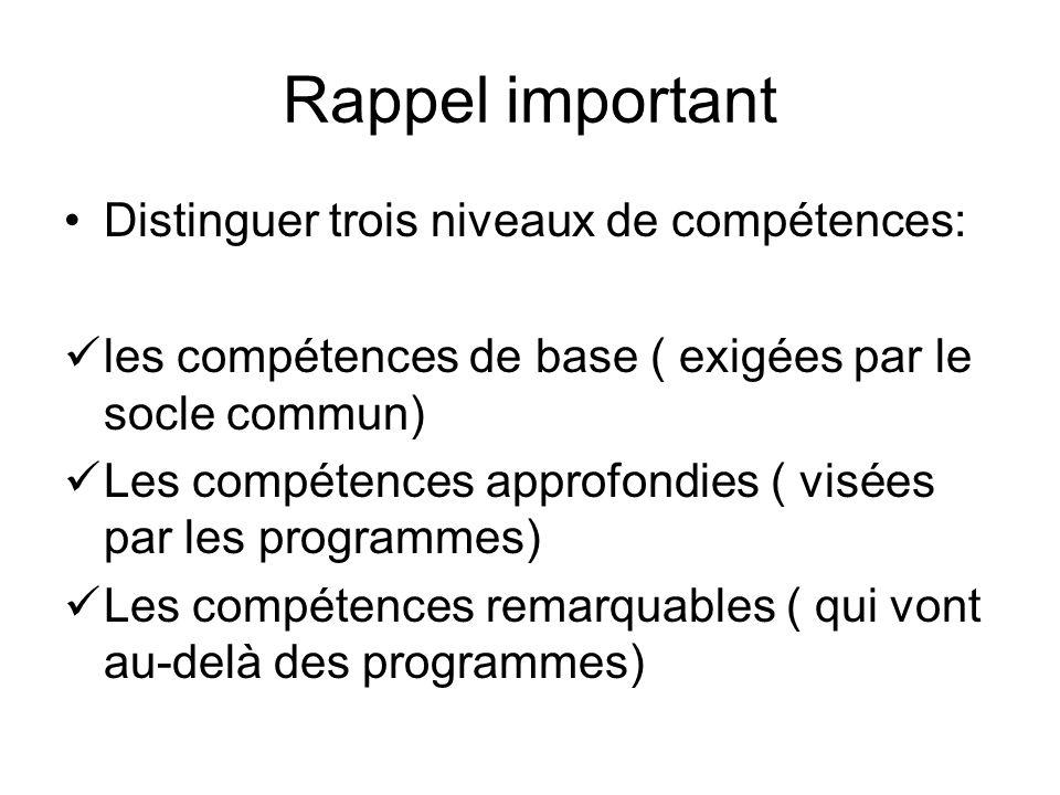 Rappel important Distinguer trois niveaux de compétences:
