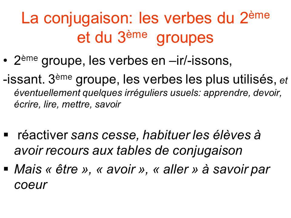 La conjugaison: les verbes du 2ème et du 3ème groupes