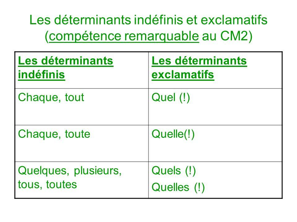 Les déterminants indéfinis et exclamatifs (compétence remarquable au CM2)