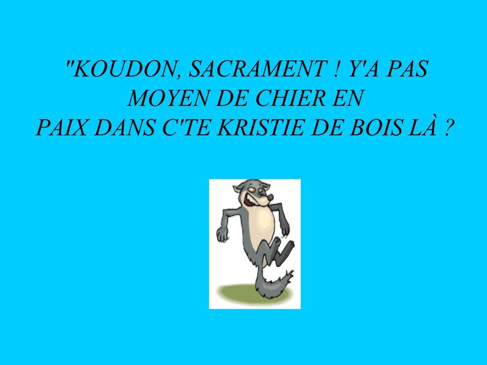 KOUDON, SACRAMENT ! Y A PAS MOYEN DE CHIER EN PAIX DANS C TE KRISTIE DE BOIS LÀ