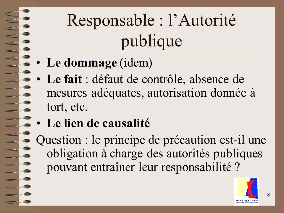 Responsable : l'Autorité publique