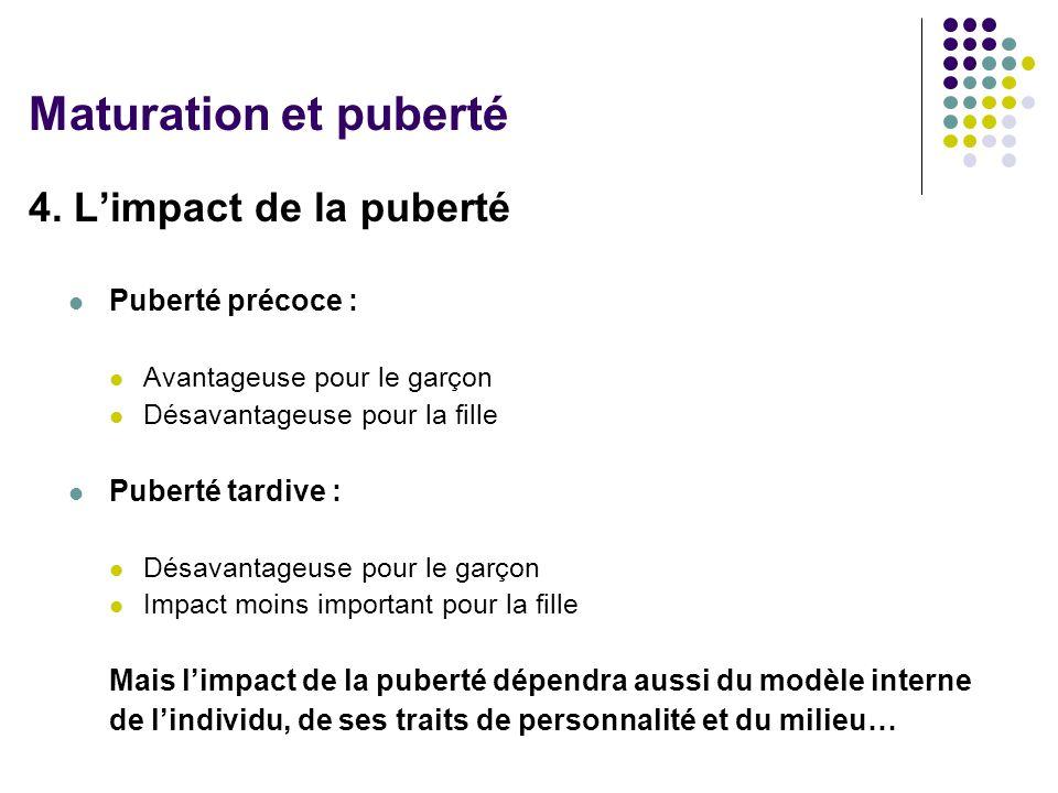 Maturation et puberté 4. L'impact de la puberté Puberté précoce :