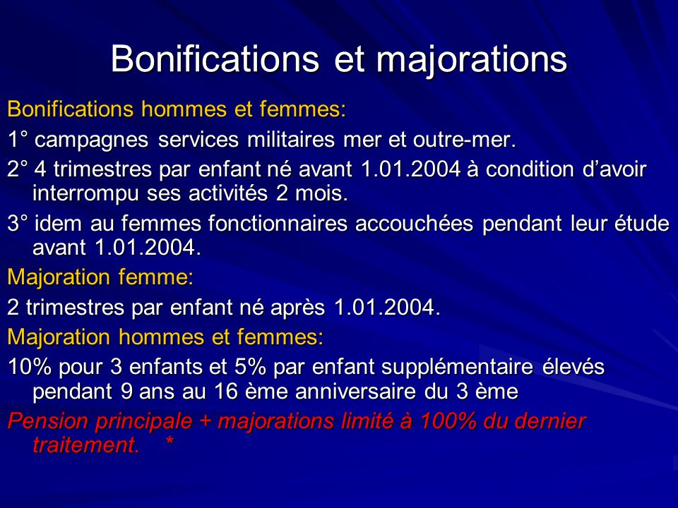 Bonifications et majorations
