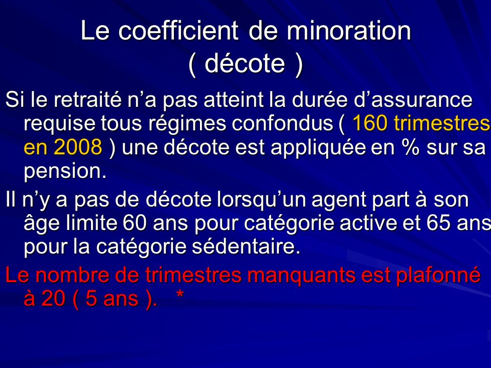 Le coefficient de minoration ( décote )