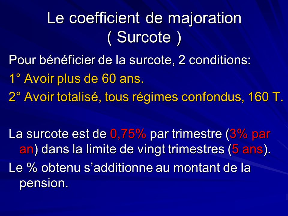 Le coefficient de majoration ( Surcote )