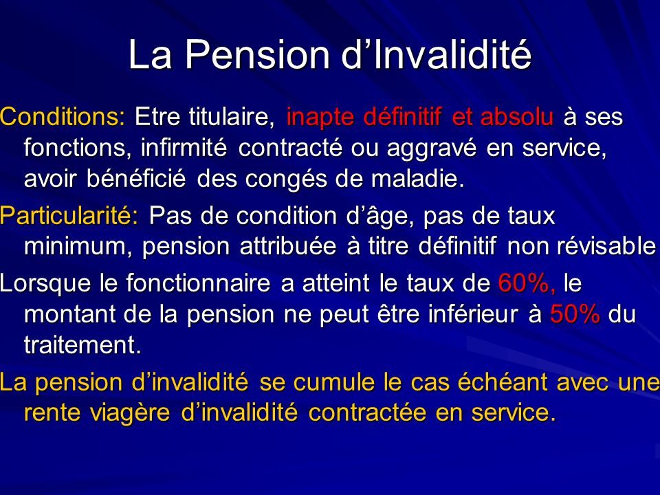 La Pension d'Invalidité