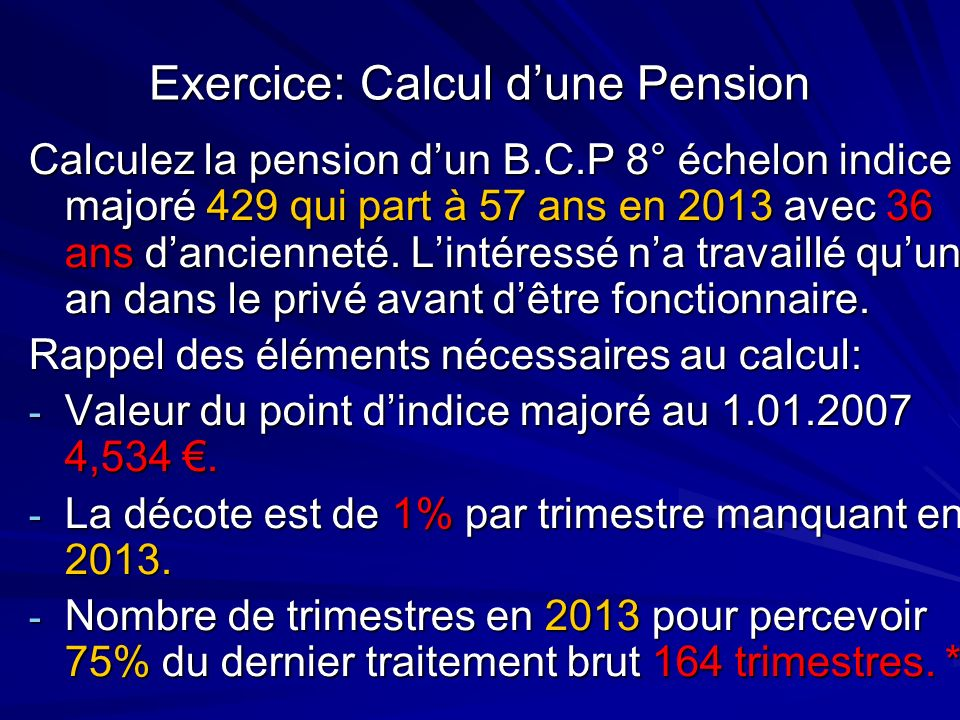 Exercice: Calcul d'une Pension