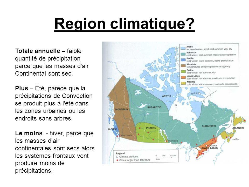 Region climatique Totale annuelle – faible quantité de précipitation parce que les masses d air Continental sont sec.