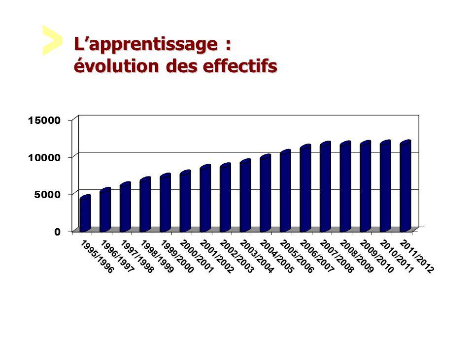 L'apprentissage : évolution des effectifs