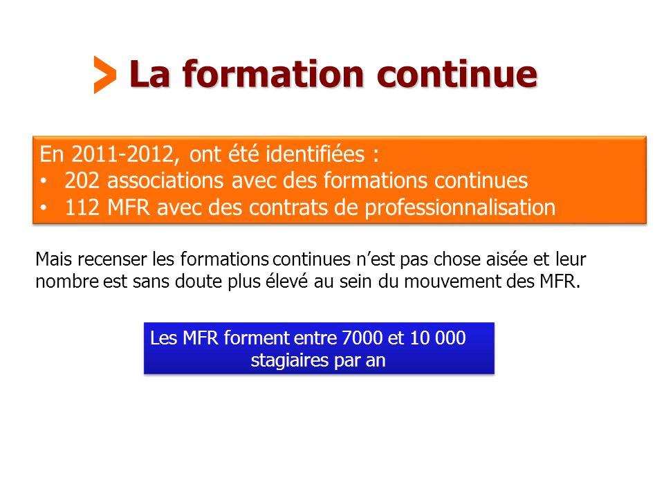La formation continue > En 2011-2012, ont été identifiées :