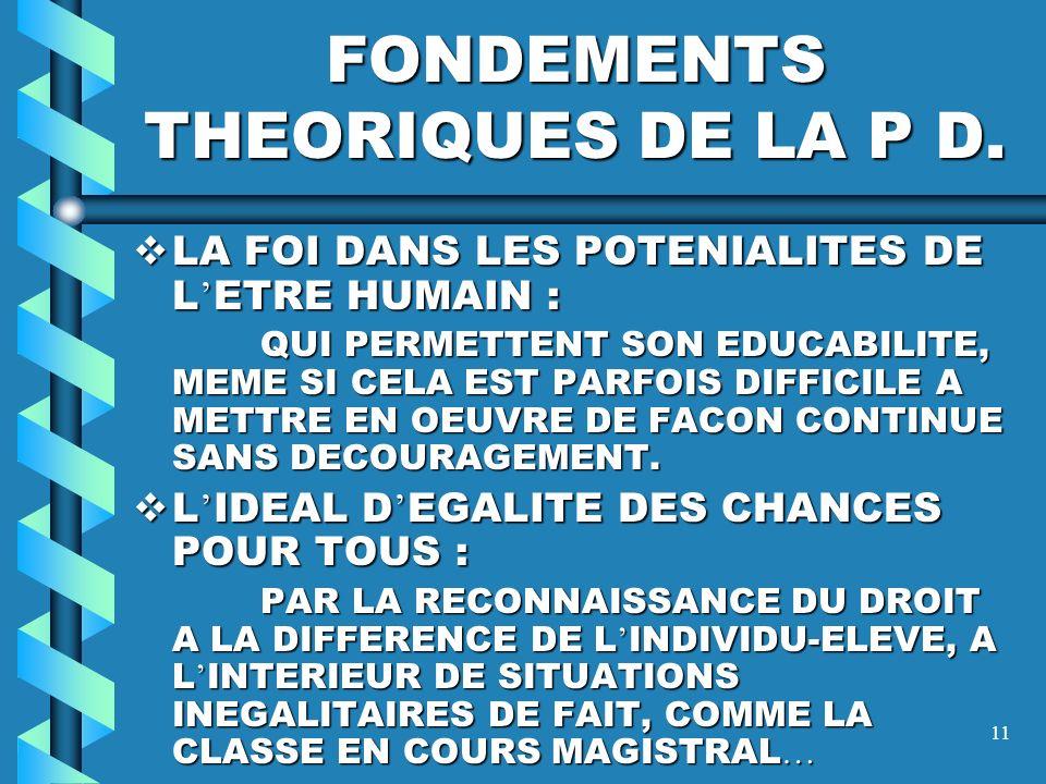 FONDEMENTS THEORIQUES DE LA P D.