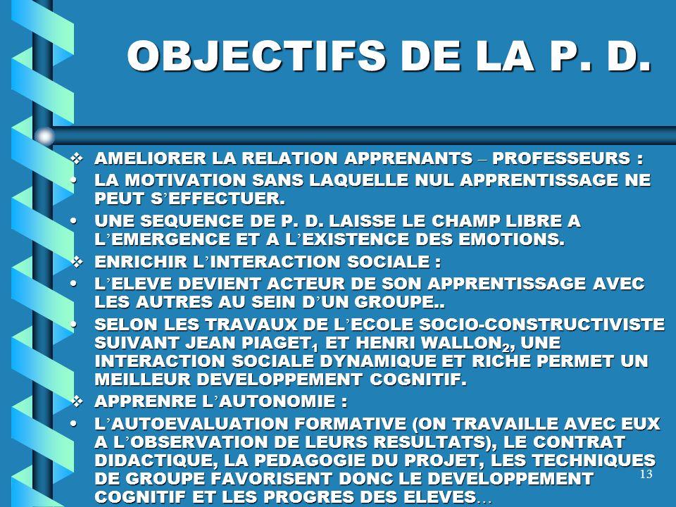 OBJECTIFS DE LA P. D. AMELIORER LA RELATION APPRENANTS – PROFESSEURS :