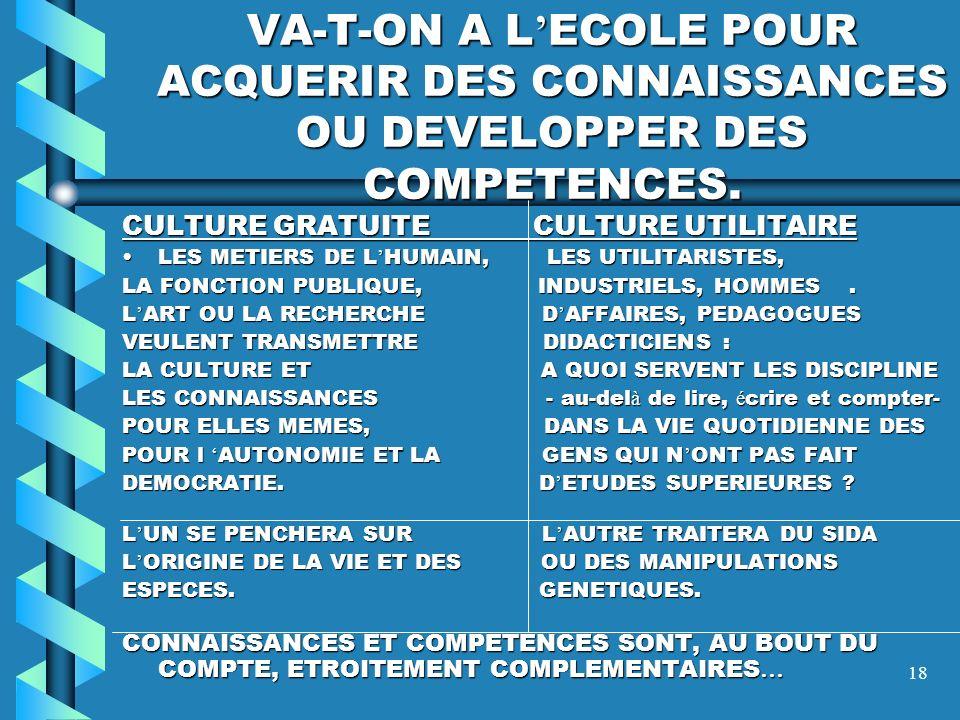 VA-T-ON A L'ECOLE POUR ACQUERIR DES CONNAISSANCES OU DEVELOPPER DES COMPETENCES.
