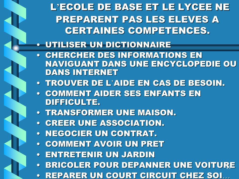 L'ECOLE DE BASE ET LE LYCEE NE PREPARENT PAS LES ELEVES A CERTAINES COMPETENCES.