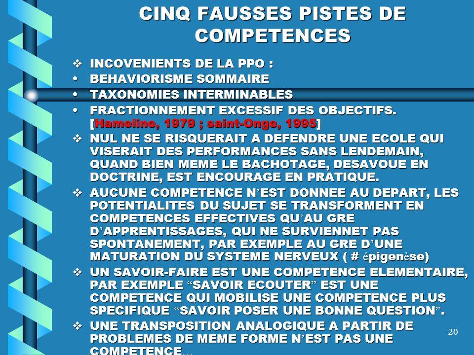 CINQ FAUSSES PISTES DE COMPETENCES