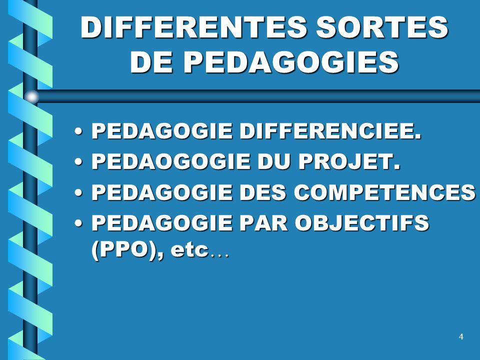 DIFFERENTES SORTES DE PEDAGOGIES