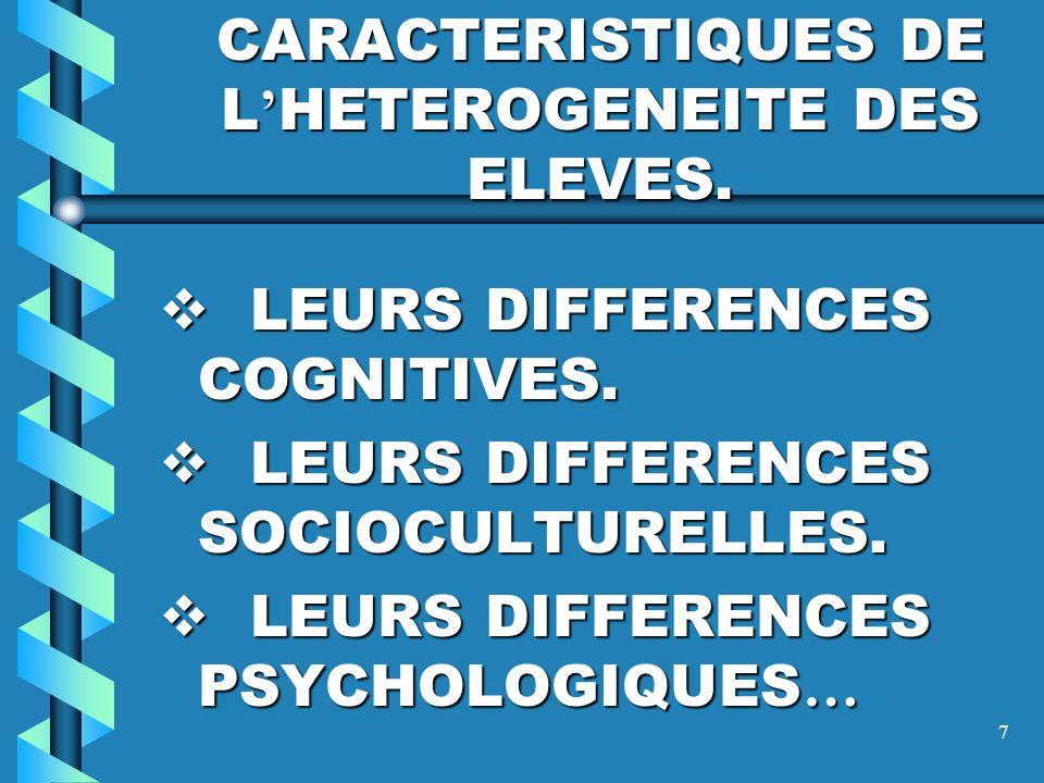 CARACTERISTIQUES DE L'HETEROGENEITE DES ELEVES.