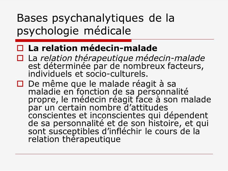Bases psychanalytiques de la psychologie médicale