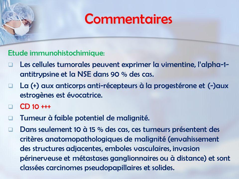 Commentaires Etude immunohistochimique: