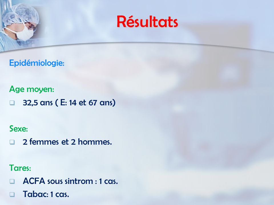 Résultats Epidémiologie: Age moyen: 32,5 ans ( E: 14 et 67 ans) Sexe: