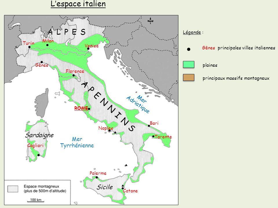 APENNINS L'espace italien ALPES Sardaigne Sicile Adriatique Mer Mer